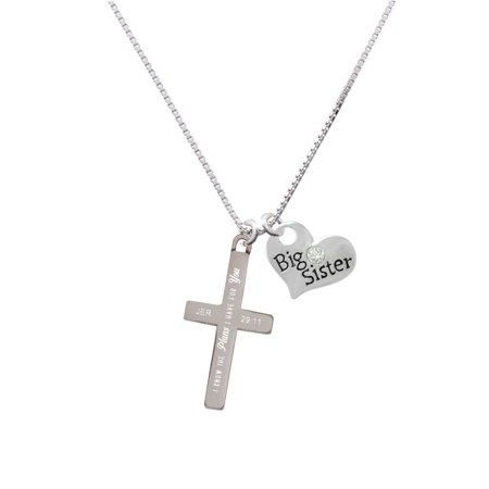 Stainless Steel Jeremiah 29:11 - I Have Plans for You Engraved Cross - Big Sister Heart (Engraved Heart Cross)