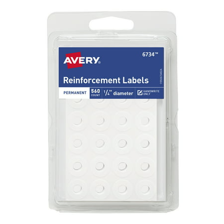 "(4 Pack) Avery Self-Adhesive Reinforcement Labels, 1/4"" Round, 560 Labels (6734)"