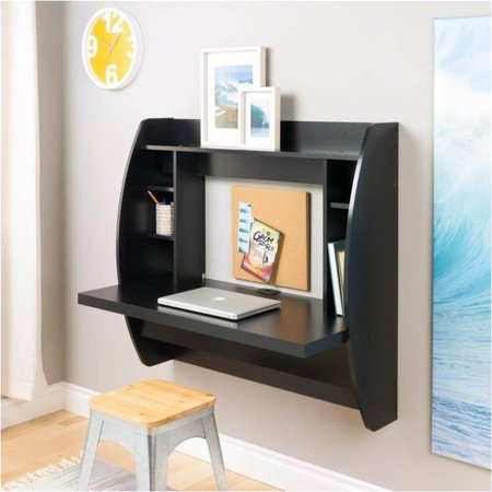 Pemberly Row Floating Computer Desk with Storage in Black - image 5 de 5