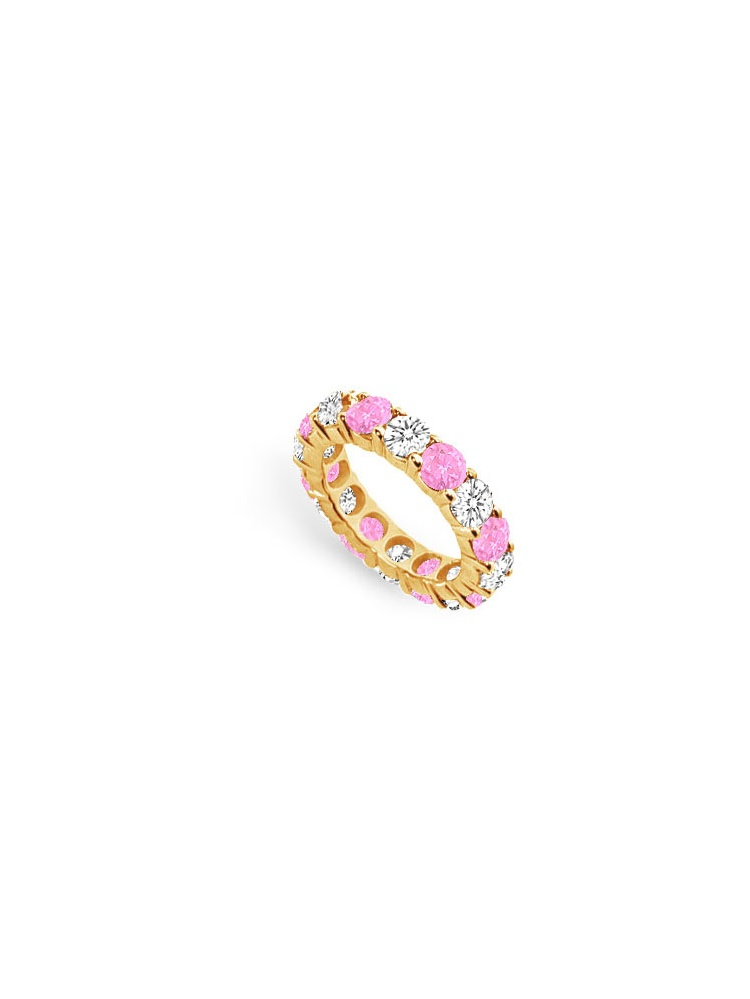 8 Carat Cubic Zirconia and Created Pink Sapphire Eternity Band in 18K Yellow Gold Vermeil by Love Bright