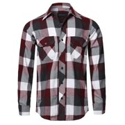 FashionOutfit Men's Casual Plaid Flannel Woven Long Sleeves Button Down Shirt