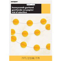 Tissue Paper Honeycomb Ball Garland, 7 ft, Yellow, 1ct