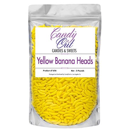 CandyOut Banana Heads Candy 3 Pound Yellow Banana Shaped Candy in Sealed Stand Up Bag (Lego Shaped Candy)