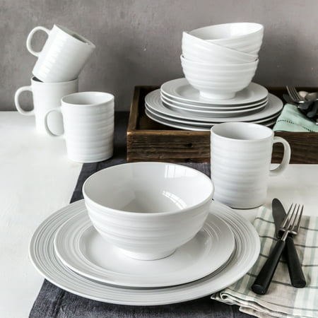 Better Homes and Gardens Anniston Porcelain 16 Piece Dinnerware Set ...