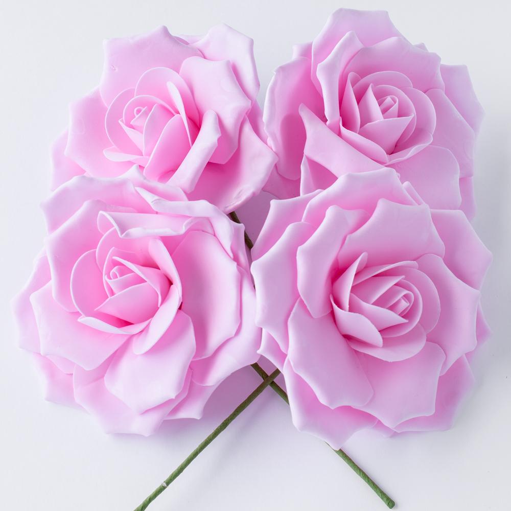 8-Inch Pink Rose Foam Flower Backdrop Wall Decor, 3D Premade (4-PACK)