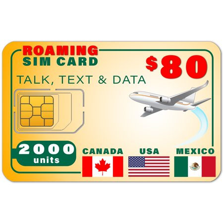 USA Canada Mexico GSM SIM Card - Rollover 2000 Minutes Talk Text Data 1 Year Wireless (Best Data Sim Canada)