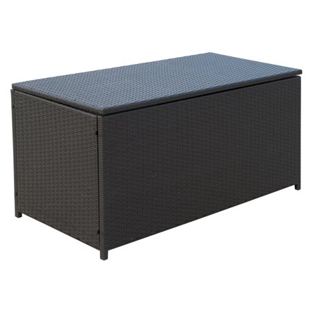 47x21x23inch Outdoor Garden Rattan Storage Box Wicker Home Furniture Indoor Storing Unit with Lid Coffee - image 5 of 7