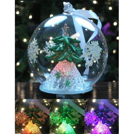 - LED Glass Globe Christmas Ornament with Green Tree Inside