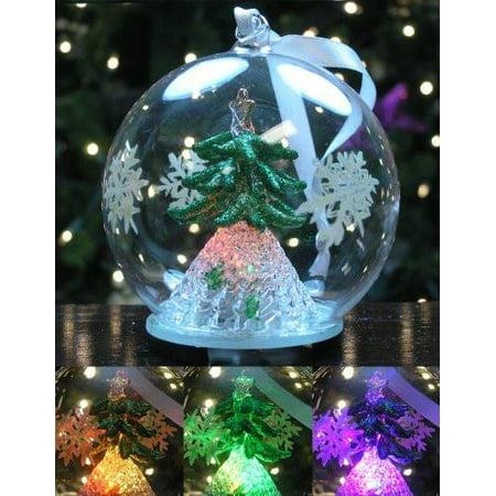 LED Glass Globe Christmas Ornament with Green Tree Inside (Globe Ornament)