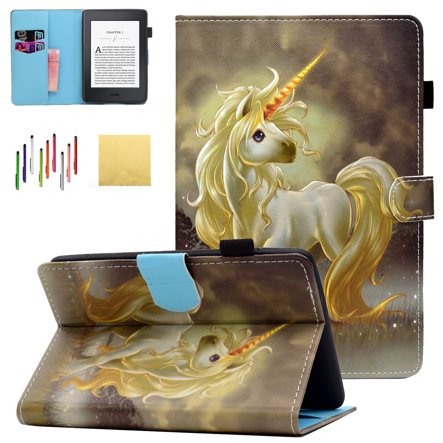 """Kindle Paperwhite 3 2 1 Case, Goodest PU Leather Folio Folding Stand Cover with Pencil Holder Auto Wake Sleep for Amazon Kindle Paperwhite 6"""" (Fits from 2012 to 2016 Versions), Horse"""
