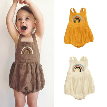 Newborn Infant Baby Girl Rainbow Print Clothes Sleeveless Romper Jumpsuit Bodysuit One Piece Summer Outfit 0-24M - image 1 of 4
