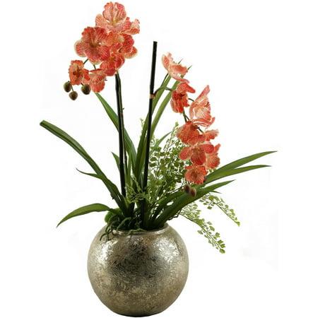 D Silks Cream Red Vanda Orchid In Silver Ball Planter