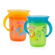 Nuby 360 Wonder Spoutless Trainer Sippy Cup - 2 pack