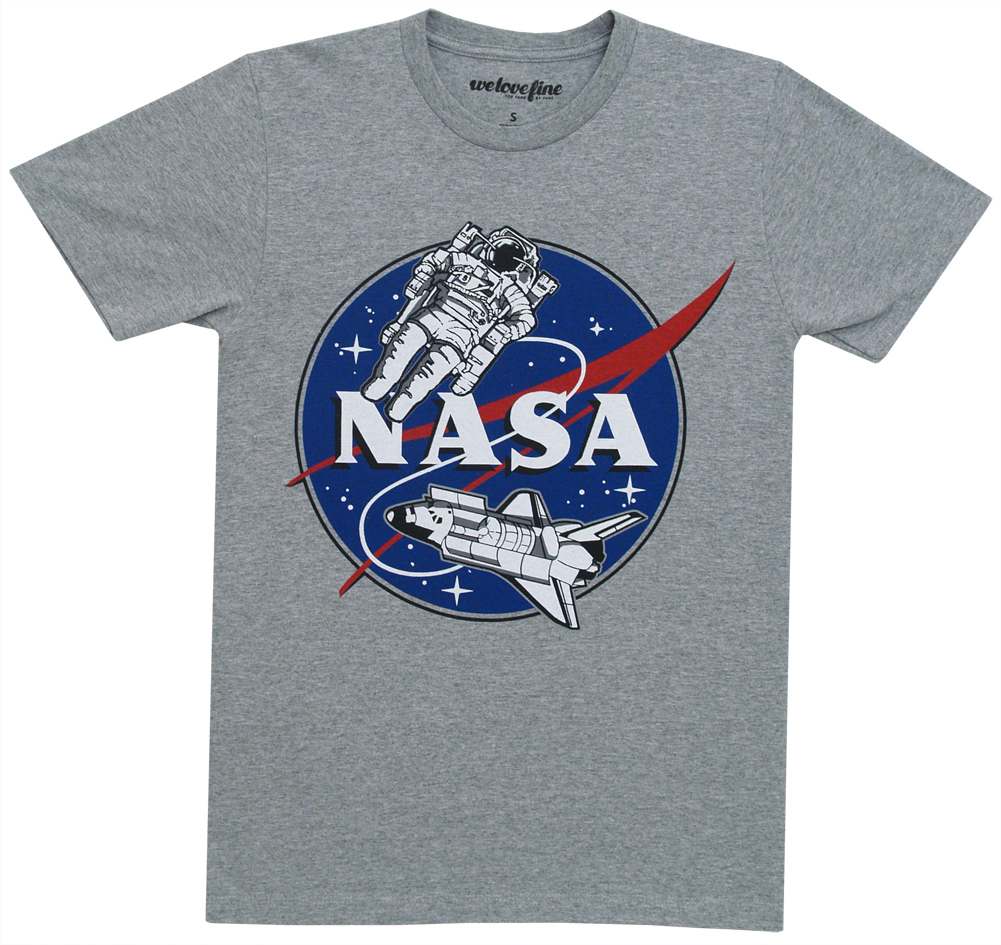 NASA Space Walk Mighty Fine Adult Crew T-Shirt Tee