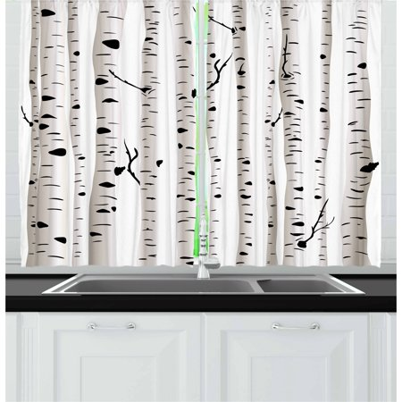 Birch Tree Curtains (Birch Tree Curtains 2 Panels Set, Forest Seasonal Nature Woodland Leafless Branches Grove Botany Illustration, Window Drapes for Living Room Bedroom, 55W X 39L Inches, Black and White, by)