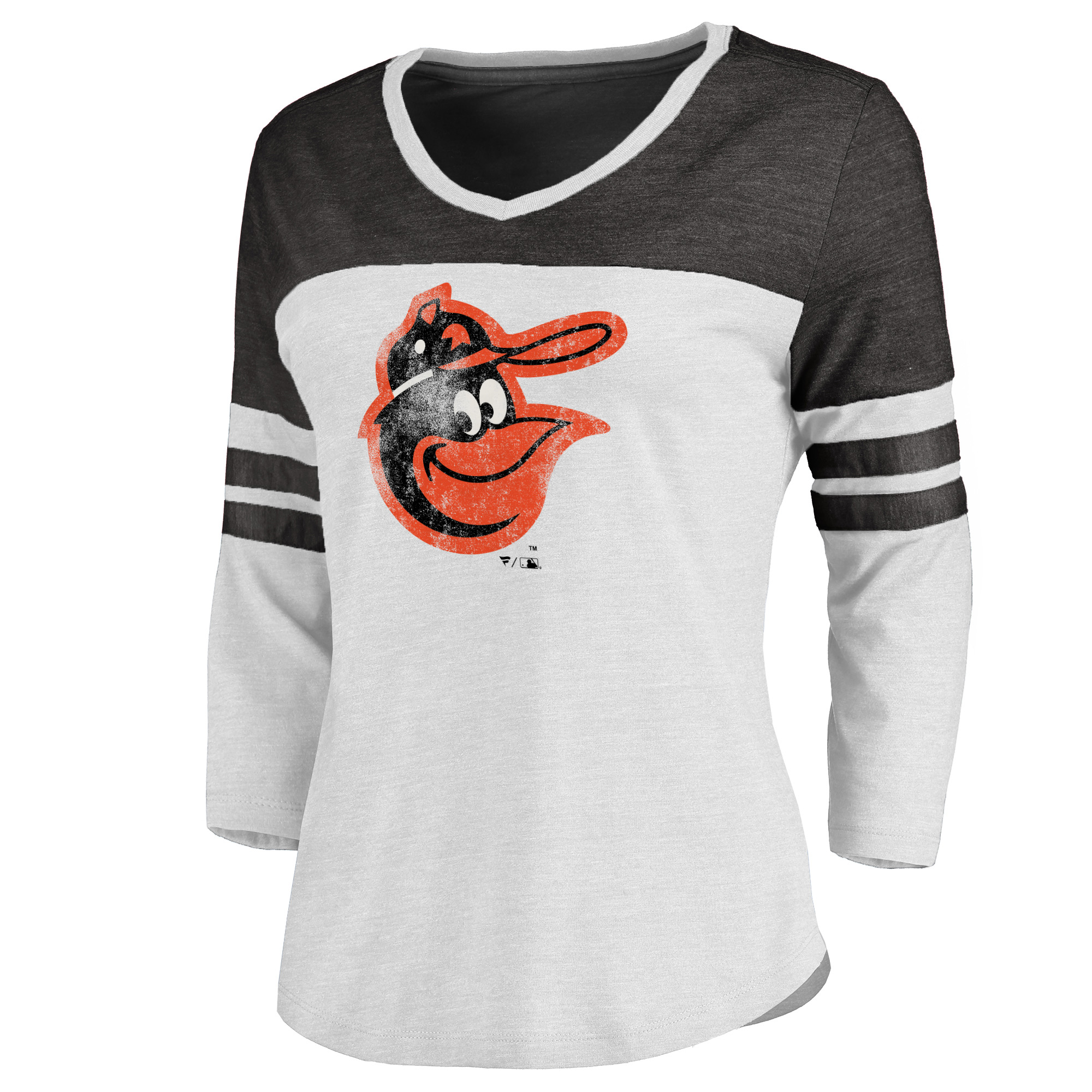 Baltimore Orioles Women's Cooperstown Two Tone Three-Quarter Sleeve Tri-Blend T-Shirt - White/Heathered Black