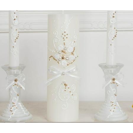 White Unity Candle Holder (Handmade Unity Candle, Unity Wedding Candle Set, Gold And White Pearl Decor, White Unity Candle Set With)
