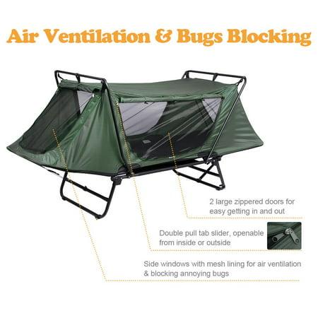Yescom Single Tent Cot Folding Portable Waterproof Camping Hiking Bed Rain Fly Bag