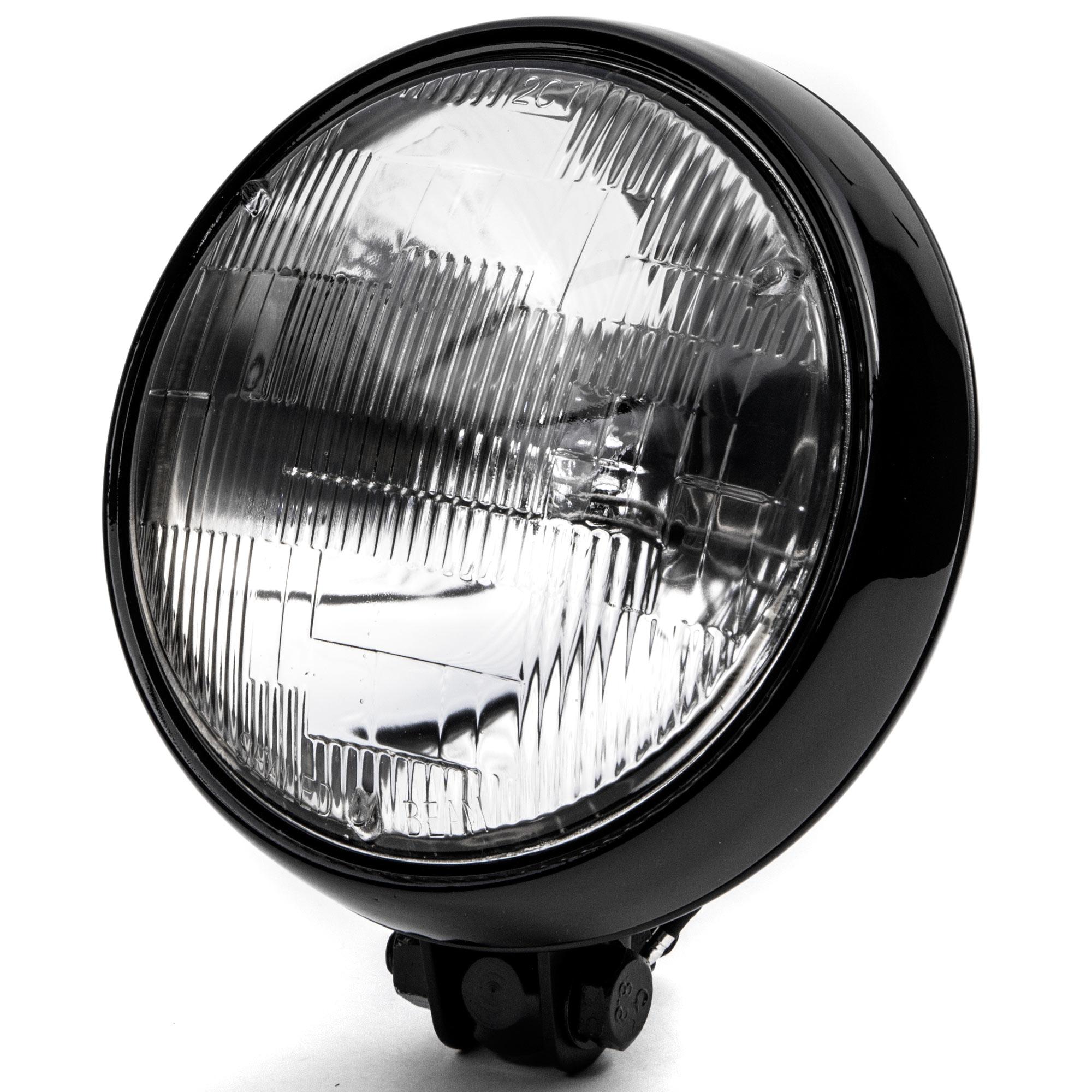 """KapscoMoto Krator 6"""" Black Motorcycle Headlight Thin Bott..."""