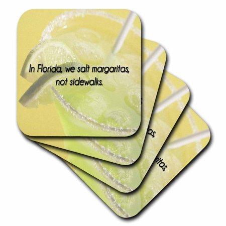 3dRose In Florida, we salt margaritas, not sidewalks green and yellow background, Ceramic Tile Coasters, set of 4