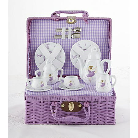 Porcelain Tea Sets (Delton - Porcelain Tea Set in Basket, Purple)