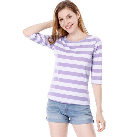 Unique Bargains Women's Elbow Sleeves Contrast Color Stripes Top Pink Gray XS - image 4 de 5
