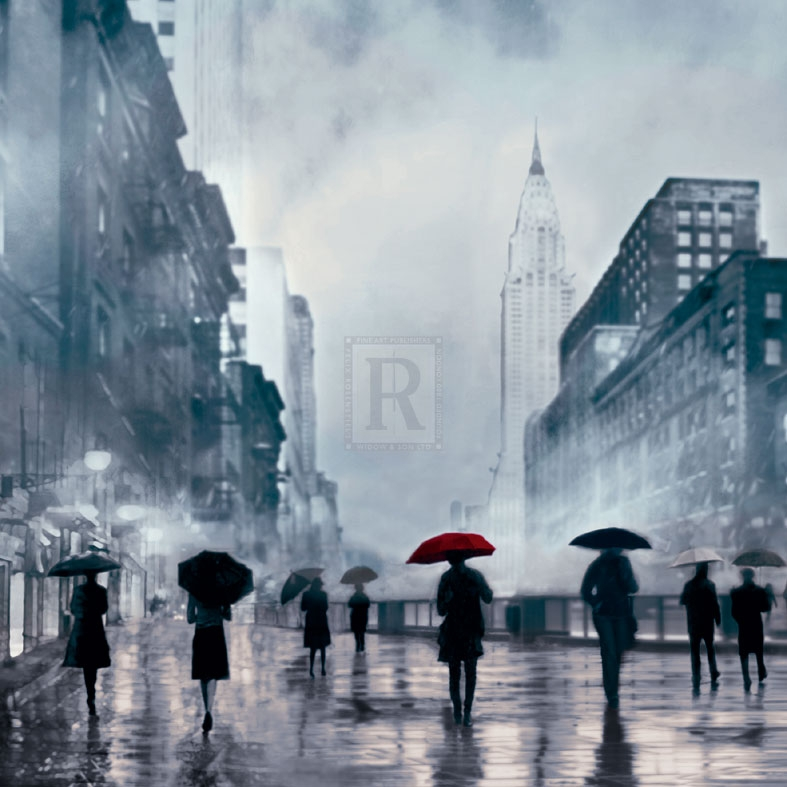 New York Red Umbrella Poster Print by Robert Canady (12 x 12)