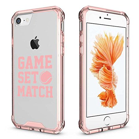For Apple iPhone Clear Shockproof Bumper Case Hard Cover Game Set Match Tennis (Pink For iPhone 6 Plus / 6s Plus)