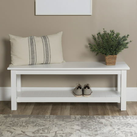 Walker Edison Country Entry Bench with Slatted Shelf - White ()