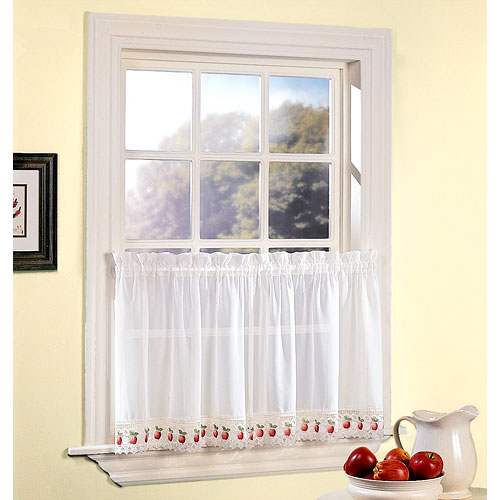 Apple Orchard Sheer Voile Kitchen Curtain, Set of Two, White and Dark Pink Apples