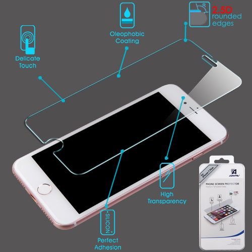 For iPhone 7 / 8 Plus Shatterproof Tempered Glass Screen Protector Film Guard