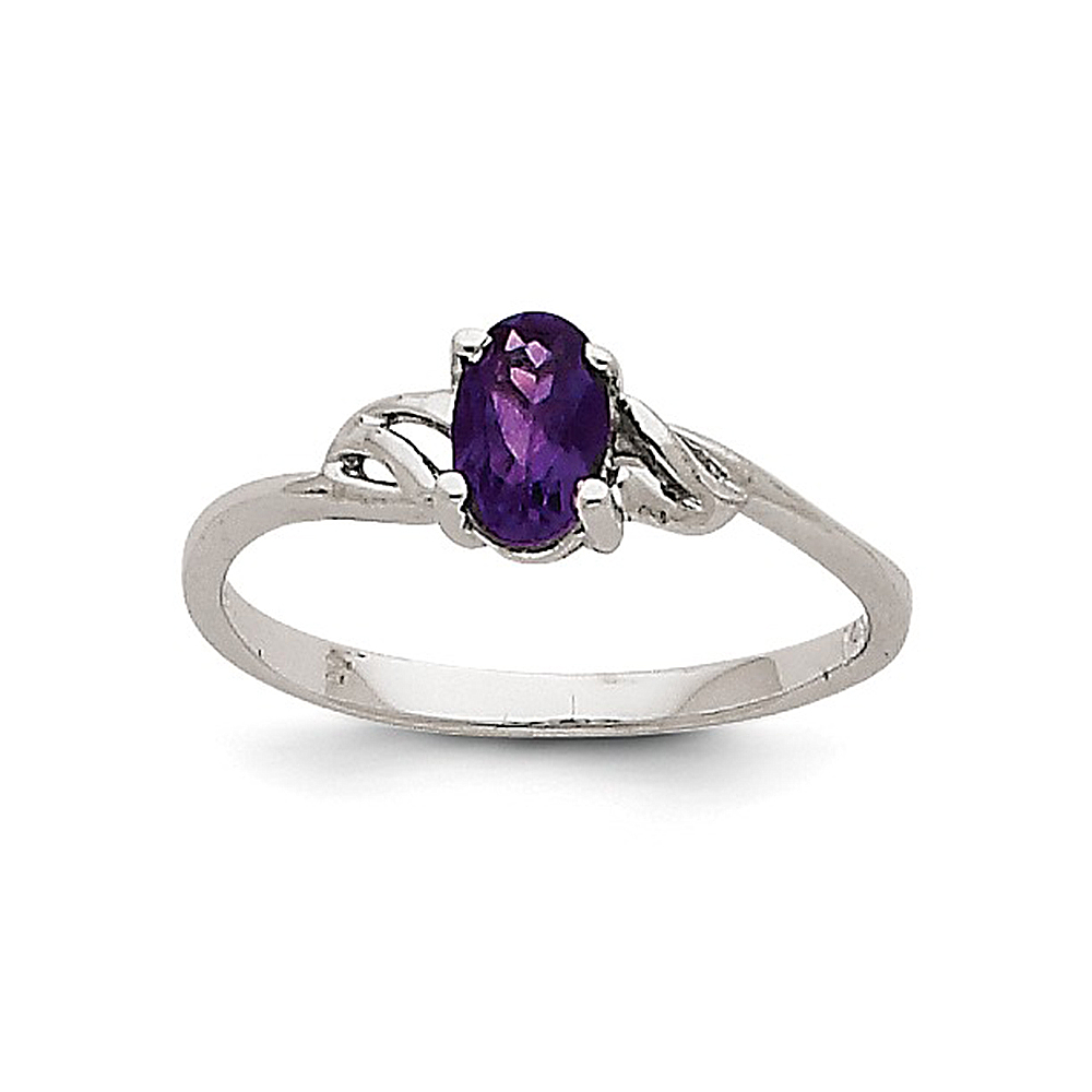 14K White Gold Prong Set Oval Cut Amethyst Ring by