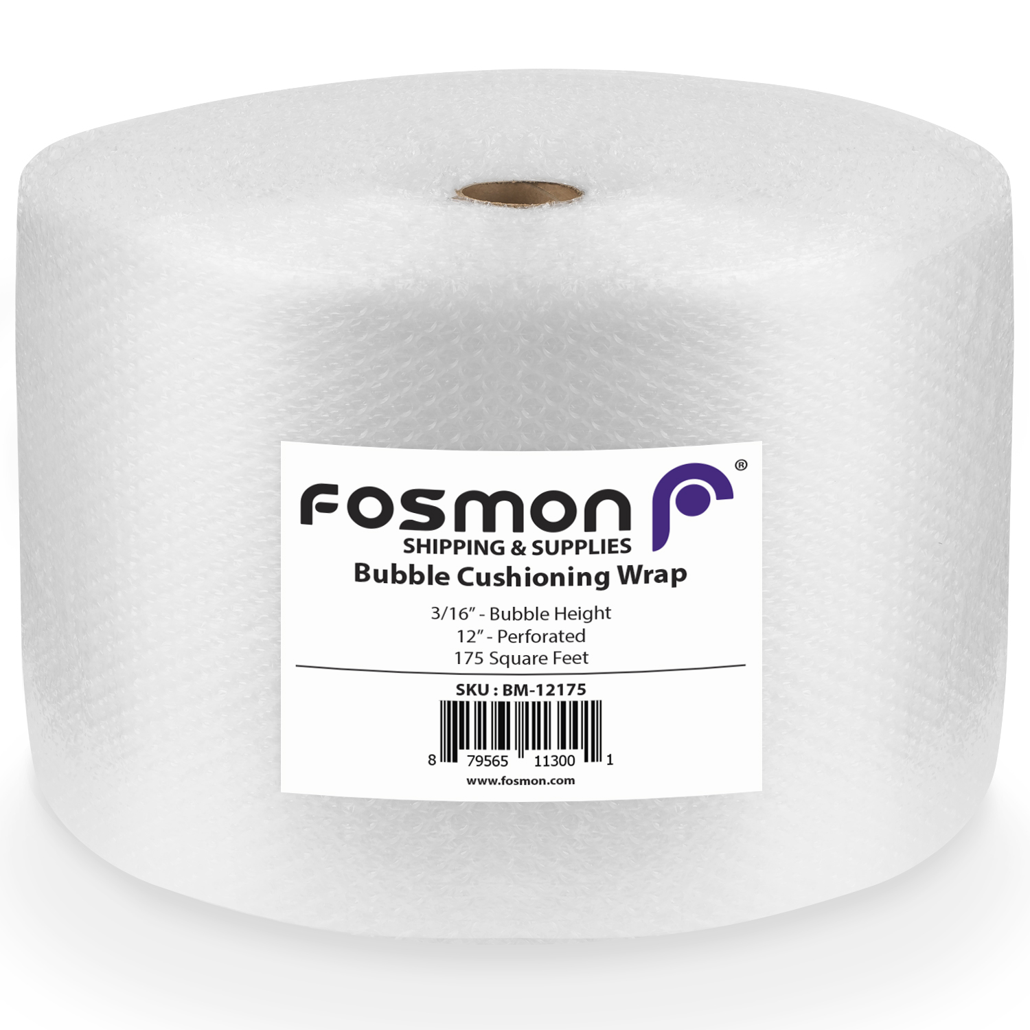 "Fosmon Sealed Air Bubble Cushioning Wrap Roll 12"" x 175' for Packaging, Shipping, Mailing, Moving and More"