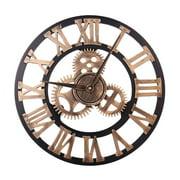GeweYeeli 40cm 3D Gear Design Roman Numeral Wall Clock Living Room Hotel Decoration Non-ticking Wooden Large Clock