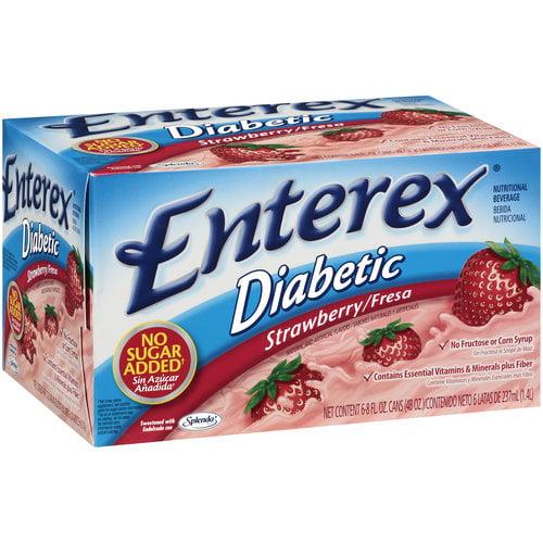 Enterex Diabetic Nutritional Beverage, Strawberry, 6 Ct