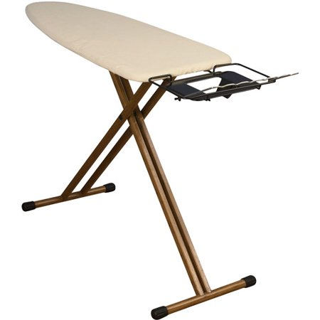 Household Essentials Wide Top 4-Leg Bamboo Ironing Board with Natural Cotton Cover