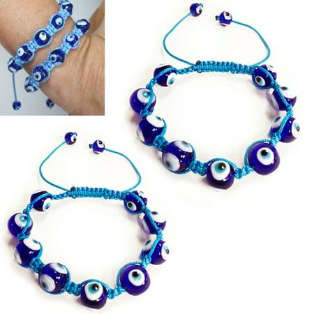 2X Evil Eye Bead Bracelet Crystal Good Luck Hamsa Nazar Protection Adjustable !