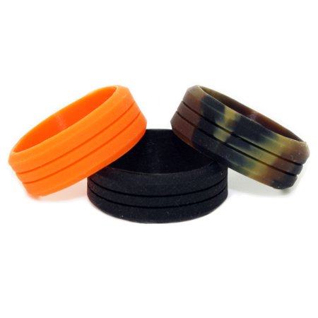Silicone Wedding Ring – Workout Ring 3 Pack (Blaze Orange, Camo & Black Ring)](Orange Camo Wedding Rings)
