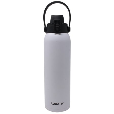 New Aquatix (White, 32 Ounce) Pure Stainless Steel Double Wall Vacuum Insulated Sports Water Bottle Convenient Flip Top Cap with Removable Strap Handle - Keeps Drinks Cold 24 hr/Hot 6 hr