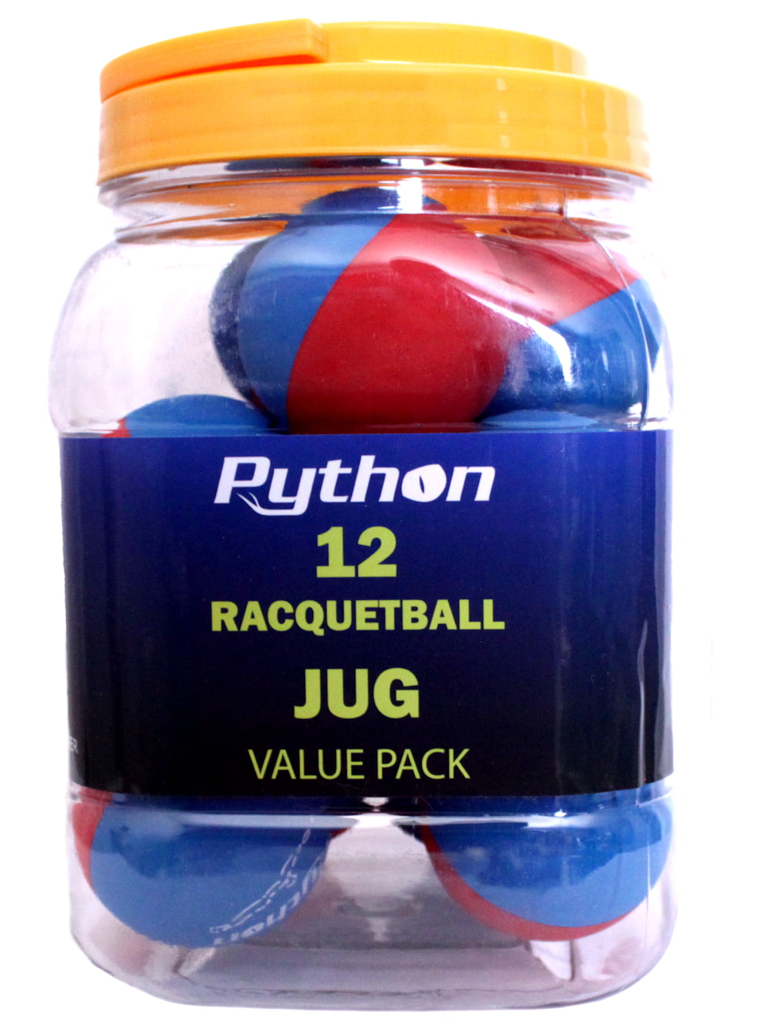 Python RG Multi Colored Racquetballs (Value Pack 12 Ball Jug Endorsed by Racquetball Legend Ruben Gonzalez!) by