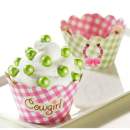 Pink Cowgirl Reversible Cupcake Wrappers, 12pk