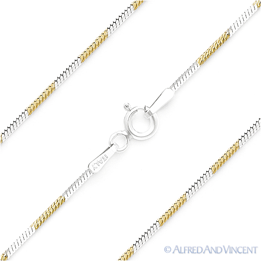 Made in Italy Thin 1.3mm Sterling Silver Nickel Free 8 Sided Snake link Chain