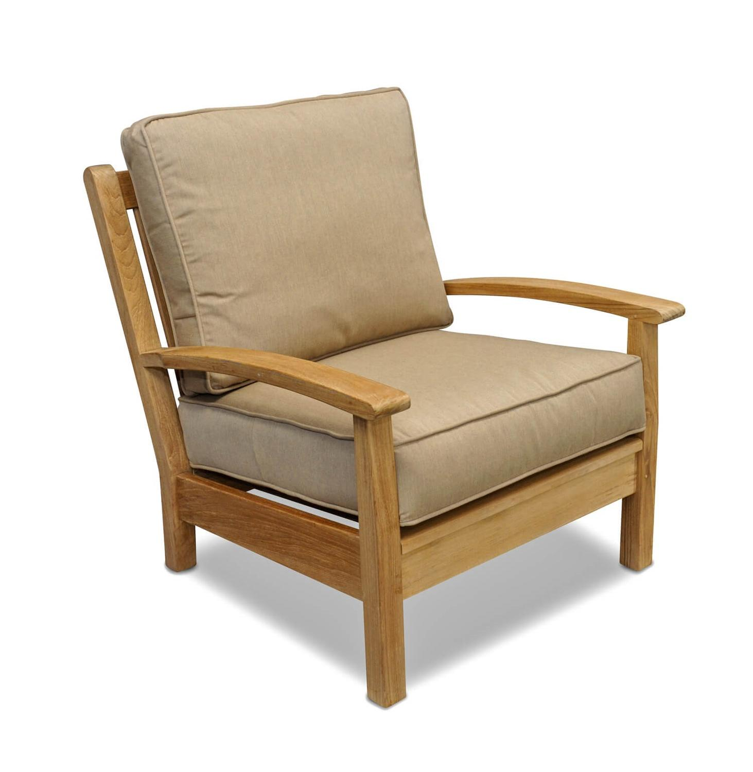 "34"" Natural Teak Deep Seating Outdoor Patio Lounge Chair with Beige Cushions"