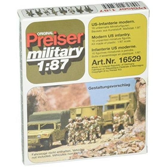 Preiser 16529 Military Modern US Unpainted Figures Standing Infantry  Package16 HO Scale Military Model Figure
