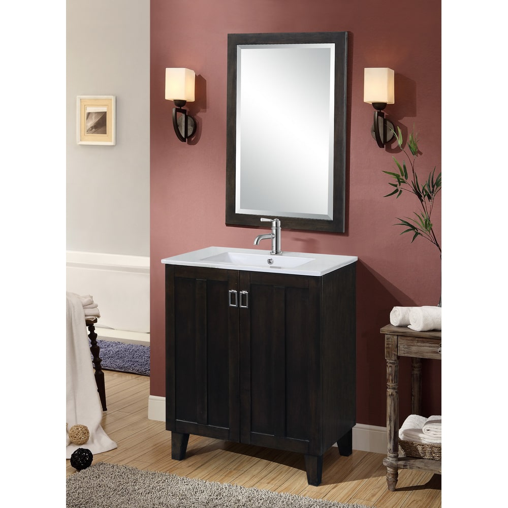 Infurniture Dark Brown 30-inch Single Sink Bathroom Vanity with Matching Framed Wall Mirror