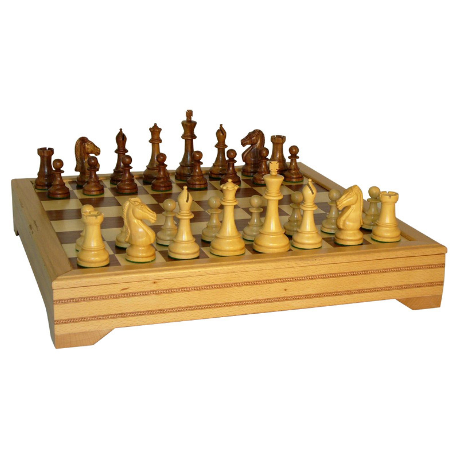 Sheesham Chevalier Beechwood / Walnut Chest Chess Set