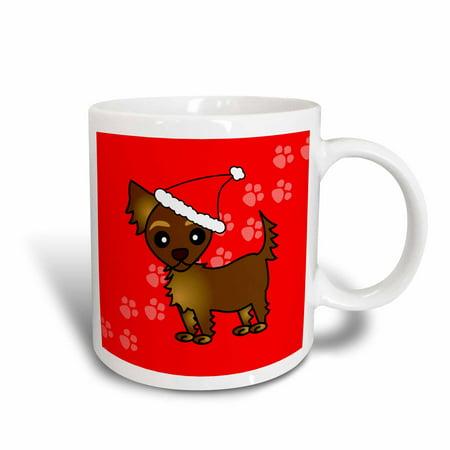 Chihuahua Santa - 3dRose Cute Chocolate Brown Longhaired Chihuahua Red with Santa Hat, Ceramic Mug, 11-ounce