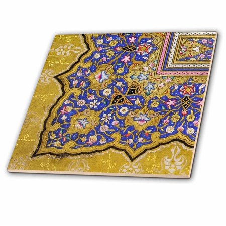 - 3dRose Purple and matte gold Arabian floral pattern. Persian style flowers and swirls. Arab Islamic Turkish - Ceramic Tile, 6-inch