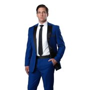 Mens Tuxedo Two Piece Solid Satin Peak Lapel Suits