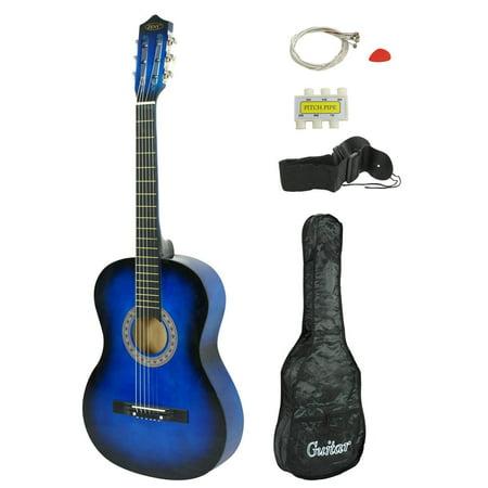 zeny blue acoustic guitar for starter beginner music lovers kids gift 38 6 string folk. Black Bedroom Furniture Sets. Home Design Ideas